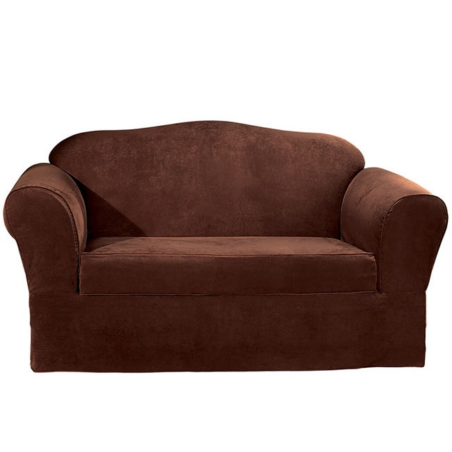 Sure fit suede supreme washable sofa slipcover overstock for Washable couch cover