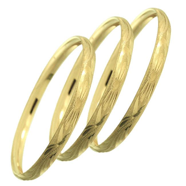 14k Goldfill Engraved Bangle Bracelet Set (Mexico)