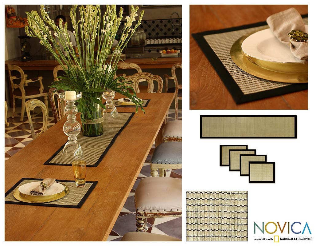 Cotton 'Gray Weaves' Mendong 5-piece Table Setting (Indonesia)