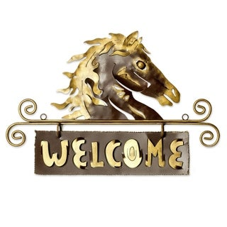 'Golden Horse Welcome' Iron Welcome Sign (Mexico)