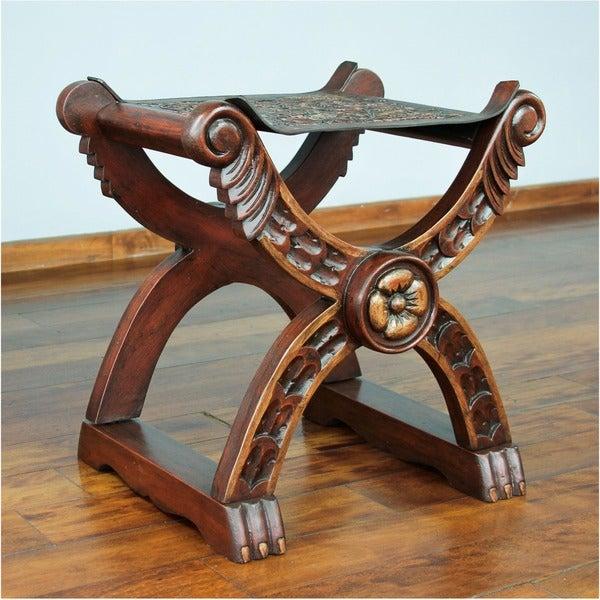 Tooled Leather Wood Stool, 'Baroque Peru' (Peru)