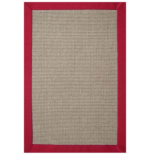 Hand Woven Sisal Red Border Rug 8 9 X 12 Overstock