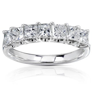 Annello 14k White Gold 1ct TDW Princess-cut Diamond Band (H-I, I1-I2)