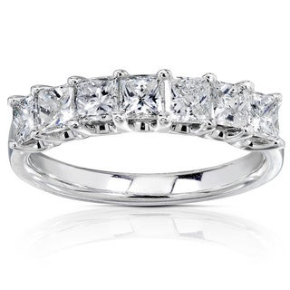 Annello 14k White Gold 1ct TDW Princess-cut Diamond Band (H-I, I1-I2) with Bonus Item