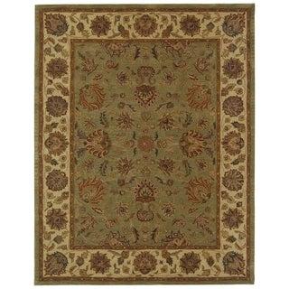 Safavieh Handmade Heritage Kerman Green/ Gold Wool Rug (8'3 x 11')