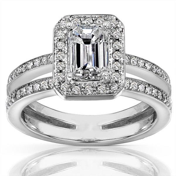 annello 14k gold 1 1 3ct tdw emerald cut ring h i