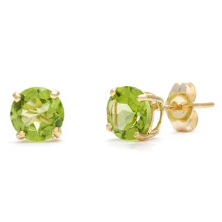 Kabella 14k Yellow Gold Birthstone Round Peridot Stud Earrings