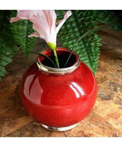Urban Ceramic Vase with Silvertone Trim (Morocco)