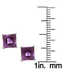 Kabella 14k White Gold Amethyst Gemstone Stud Earrings