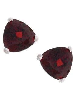 Kabella 14k White Gold Triangular Garnet Stud Earrings