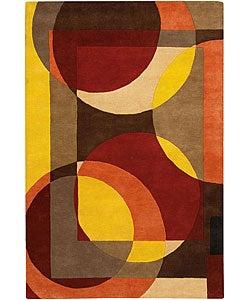 Hand-Tufted Bold Mandara Wool Rug (7'9 Round)
