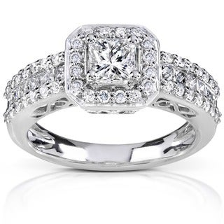 Annello 14k White Gold 1 1/4ct TDW Diamond Halo Engagement Ring (H-I, I1-I2)