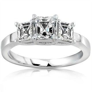 Annello 14k Gold 1ct TDW Asscher Diamond Engagement Ring (H-I, SI)