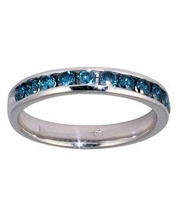 14k White Gold 1/2ct TDW Blue Diamond Channel Band