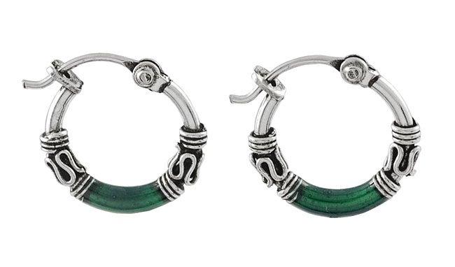 Journee Collection Sterling Silver Tribal Green Hoop Earrings