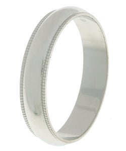 Four-millimeter Platinum Slightly Domed Millegrain Wedding Band