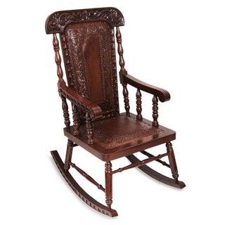 'Nobility' Cedar and Leather Rocking Chair (Peru)