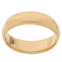 10k Yellow Gold Men's Milligrain 6-mm Wedding Band