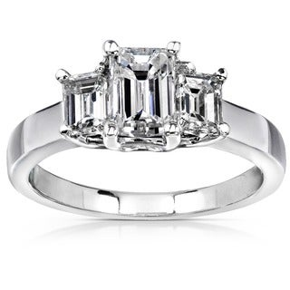 Annello 14k White Gold 1 5/8ct TDW Emerald-cut Diamond Ring ( H-I, SI )