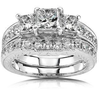 Annello 14k Gold 1 5/8ct TDW Three-Stone Princess Diamond Bridal Ring Set (H-I, I1-I2)