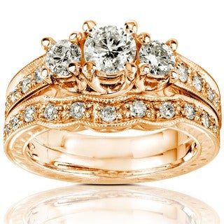 Annello 14k Gold 1ct Round Brilliant Diamond Bridal Set (H-I, I1-I2)