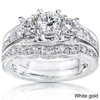 Annello 14k Gold 1ct Round Brilliant Diamond Bridal Set (H-I, I1-I2)
