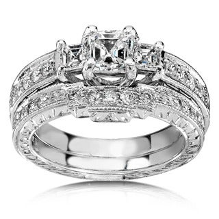 Annello 14k White Gold 1 1/5ct TDW Diamond Bridal Rings Set (H-I,SI1)