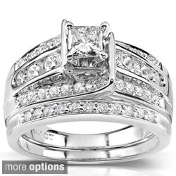 Annello 14k Gold 1ct TDW Princess-cut Diamond Bridal Ring Set (H-I, I1-I2)