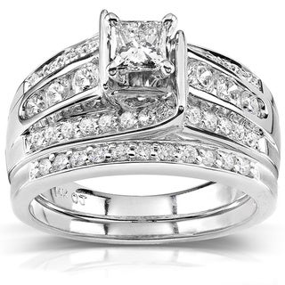 Annello 14k Gold 1ct TDW Princess-cut Diamond Bridal Ring Set (H-I, I1-I2) with Bonus Item