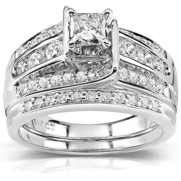 Annello 14k Gold 1ct TDW Princess-cut Diamond Bridal Ring Set (H-I, I1-I2)