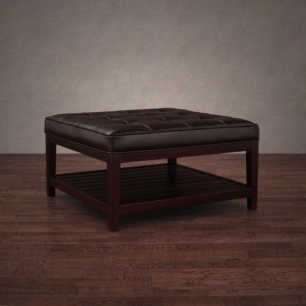 Hudson Dark Brown Leather Ottoman