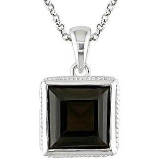 M by Miadora Silver Square Smokey Quartz Necklace