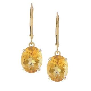 Kabella 14k Gold Oval Citrine Leverback Earrings