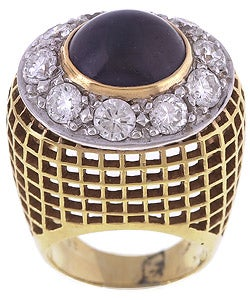 Pre-owned 18k Gold Sapphire 3ct TDW Diamond Cocktail Ring (G, VS1)