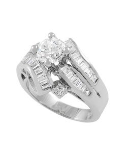 Journee Collection  Sterling Silver Wrap CZ Bridal & Engagement Ring