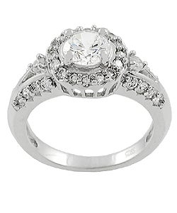 Journee Collection High-polish Sterling Silver Round-cut Cubic-zirconia Ring
