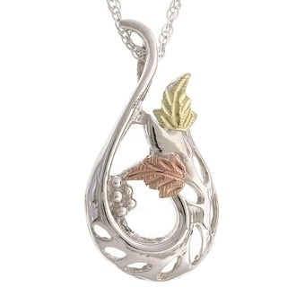 Black Hills Gold and Silver Swirl Pendant Necklace