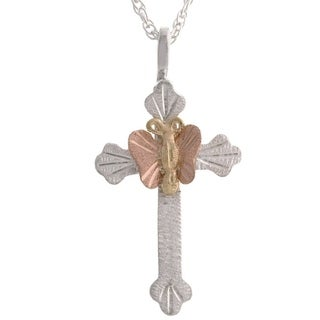 Black Hills Gold Butterfly on Silver Cross Pendant