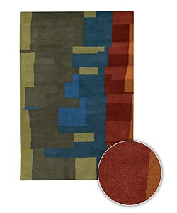 Multi-Color Hand-tufted Contemporary Mandara Rug (8' x 11')