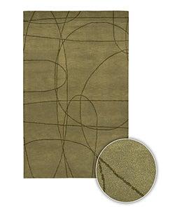 Green Hand-tufted Contemporary Mandara Rug (8' x 11')