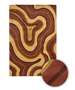 Bold Color Hand-tufted Contemporary Mandara Rug (8' x 11')