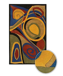Hand-Tufted Mandara Contemporary Abstract-Print Wool Rug (8' x 11')