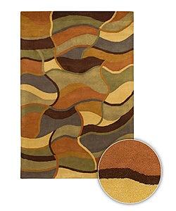 Neutral Color Hand-tufted Contemporary Mandara Rug (8' x 11')