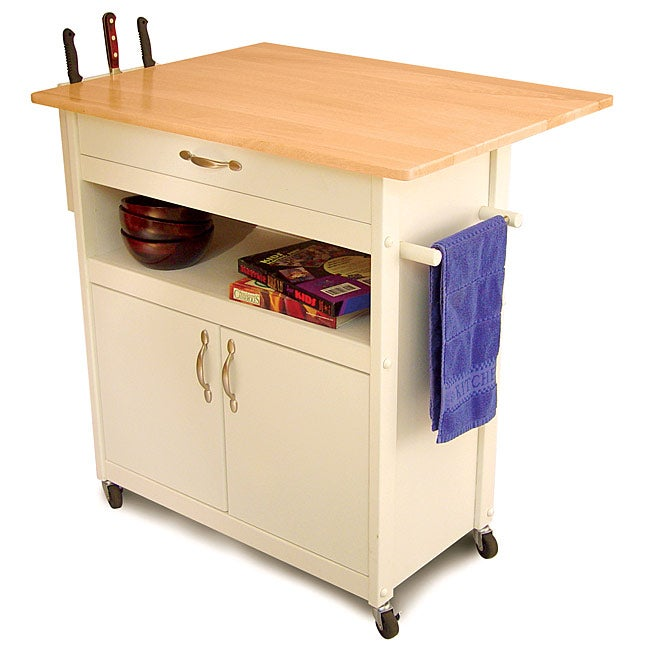 White Base Kitchen Cart with Natural Top