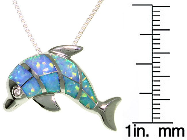 CGC Sterling Silver Created Opal Dolphin Necklace