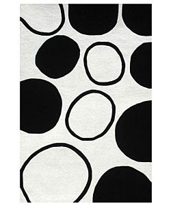 Hand-tufted Black Circle Wool Rug (8' x 10'6)