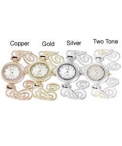 Geneva Platinum Polished Swirl Cuff Watch