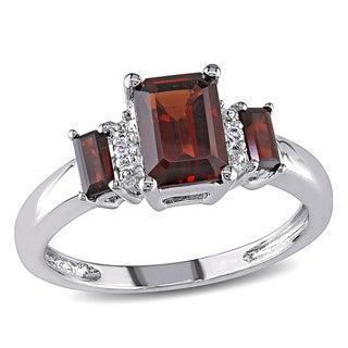 Miadora 10k White Gold Garnet Diamond Accent Ring