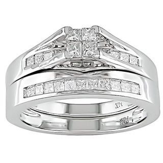 Miadora 14k White Gold 1/2ct TDW IGL-certified Diamond Bridal Ring Set (H-I, I1-I2)
