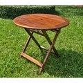 International Caravan Acacia 32-inch Round Folding Table